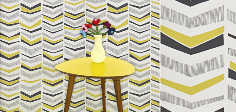 papier peint retro jaune
